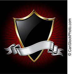 Black Shield and Silver Ribbon - Black shield with a golden...