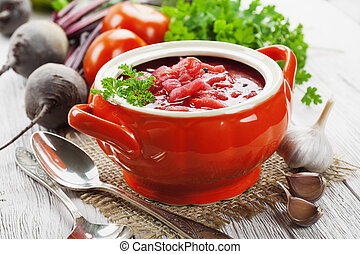 Borsh. Russian traditional dish - Soup with red beets....