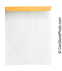 A4 document envelope on white background in disclose condition.