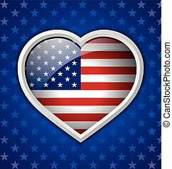 American heart badge on blue starry background