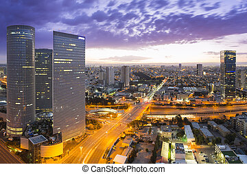 Tel Aviv Skyline at Sunset - Tel Aviv cityscape - View of...