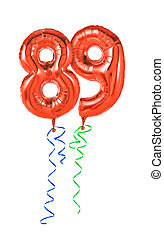 Red balloons with ribbon - Number 89