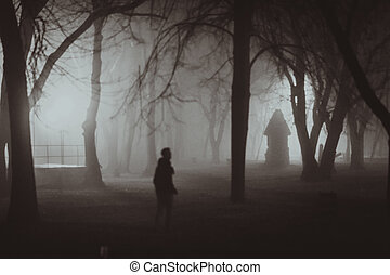 Horror scene of a autumn fog LIGHTING FILM NOIR STYLE -...