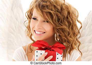 angel with gift - picture of happy teenage angel girl with...