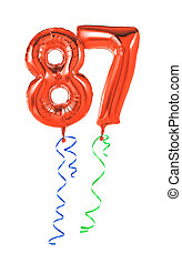 Red balloons with ribbon - Number 87