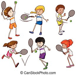 Kids playing tennis - A group of kids playing tennis on a...