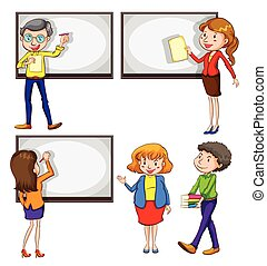 Male and female teachers - A drawing of the male and female...