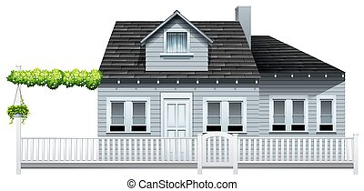 A gated house on a white background