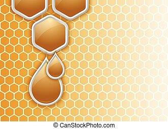 Honeycomb background with glossy honey drops decoration
