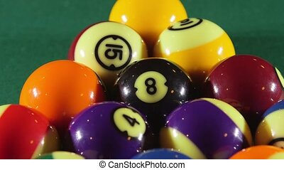 Pool balls on billiards game table - Billiard game on pool...