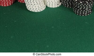 Rolling dice slow motion - Two rolling white dice on casino...