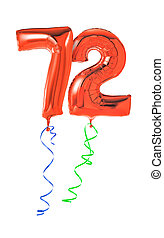 Red balloons with ribbon - Number 72