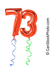 Red balloons with ribbon - Number 73