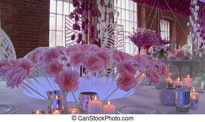 Loft-style restaurant decorated for wedding - View of...