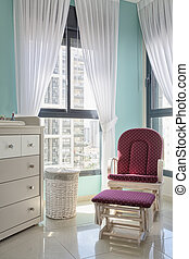 Interior of baby room - Nursery room for baby with window...