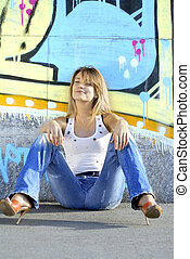 sexy blonde girl near color wall - sexy blonde girl in jeans...