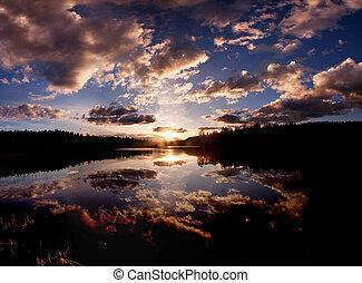 Lake - A dramatic sunset on a beautiful lake, Buskerud,...