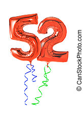 Red balloons with ribbon - Number 52