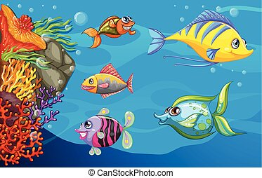 A school of fish under the sea - A school of fish under the...