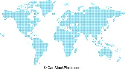 Squares world map illustration of world map made up of...