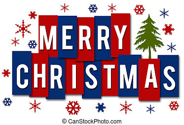Merry Christmas Red Blue Stripes