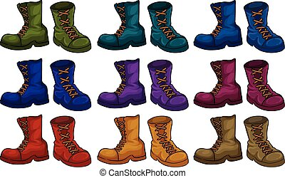 Boots set - Colourful boots set on white