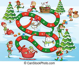 Christmas board game - Christmas themed board game with...