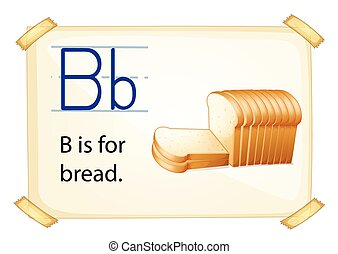 A letter B for bread n a white background