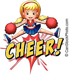 Cheer flash logo - Cheerleader jumping over the word cheer