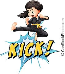 Kick logo - Karate kik with girl and wording