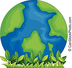 A globe with blue ang green colors on a white background