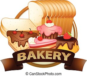 Bakery label - Brown bakery label with baked goods