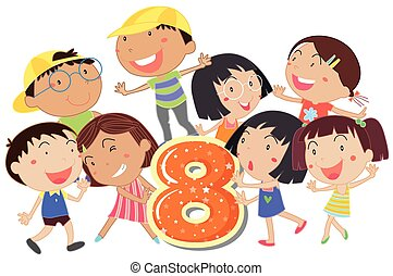 Eight playful kids on a white background