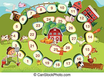 Farm board game - Zoo themed board game with numbers