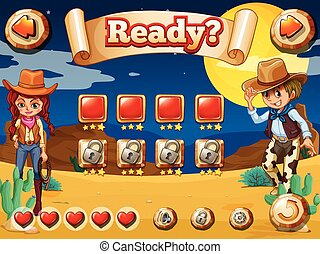 Cowboy game - Wild west game theme with elements and icons