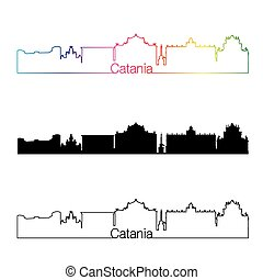 Catania skyline linear style with rainbow in editable vector...