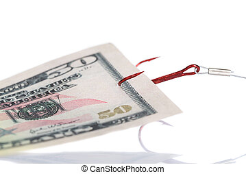 Fifty Dollar Bill Trapped In Fishing Hook - Closeup of fifty...