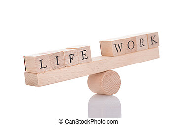 Seesaw Representing Imbalance Between Life And Work - Wooden...