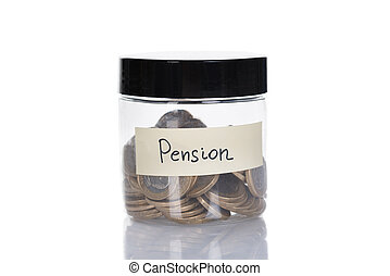 Pension Jar Filled With Coins