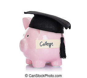Piggybank With Mortar Board And College Label - Piggybank...