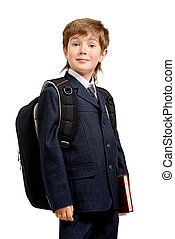 diligent - Portrait of a boy in a formal suit with schoolbag...