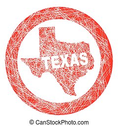 Texas Map Stamp - A stamp with a outline map of the state of...