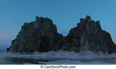 Evening Timelapse on Baikal Lake - Evening on Shamanka Rock...