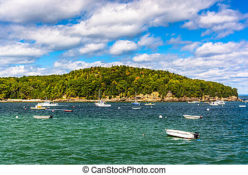 Boats and island in Frenchman Bay, in Bar Harbor, Maine.