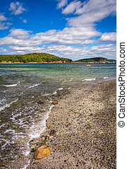 Beach and view of islands in Frenchman Bay, Bar Harbor,...
