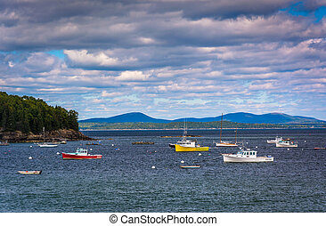 Boats in Frenchman Bay, in Bar Harbor, Maine.