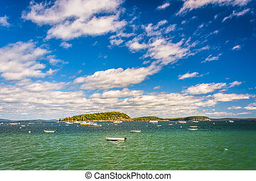 Boats and islands in Frenchman Bay, in Bar Harbor, Maine.