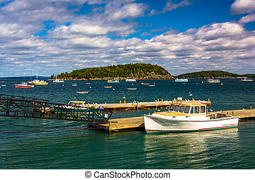 Docks and boats in the harbor at Bar Harbor, Maine.