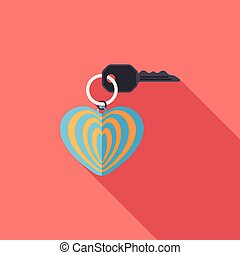 Valentine's Day lover keychain flat icon with long...