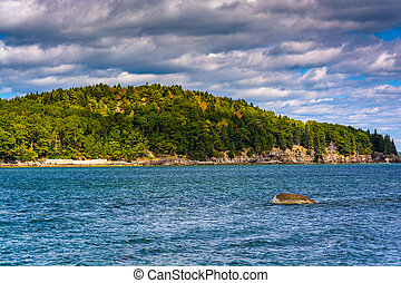 Island in Frenchman Bay, in Bar Harbor, Maine.